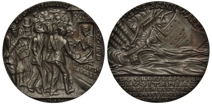 German World War I propaganda medal 1915, torpedoing Lusitania steamship by German submarine, passengers buying tickets from Death as cashier, inscription in German profit is above all else,