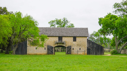 The Brucker Barn at the Johnson Settlement at the Lyndon B Johnson National Historical Park in Johnson City, Texas