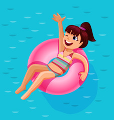 Cheerful cute girl on a colorful ring float in a summer pool,summer vacation concept,vector illustration