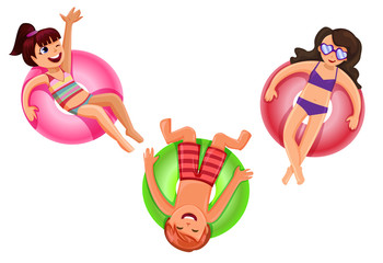 Cheerful teens on a colorful ring floats in a summer pool isolated on white,summer vacation concept,vector illustration