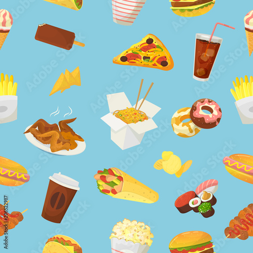 Fast Food Vector Hamburger Or Cheeseburger With Chicken Wings And