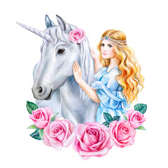Unicorn and princess with flower frame isolated on white background. Unicorn in a flower wreath. Girl with golden hair and horse. Cinderella. Watercolor. Illustration Template. Clipart. Hand drawing