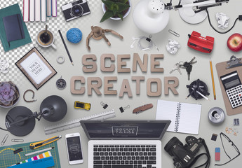Scene Creator with 50 Desk Accessories