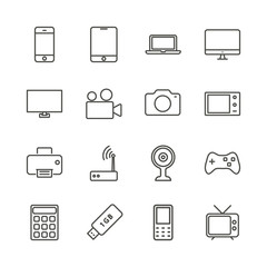 Electronic device set icon vector. Outline technology collection. Trendy flat gadget sign design. Thin linear graphic pictogram isolated for web site, mobile application. Logo illustration. Eps10.