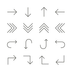 Arrows set icon vector. Line next, back, up, down collection symbol isolated. Trendy flat outline ui sign design. Thin linear graphic pictogram for web site, mobile app. Logo illustration. Eps10.