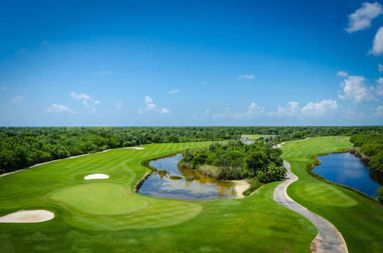 Golf course located in the mexican caribbean