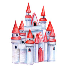 Castle, fortress tower isolated on white background. Watercolor. Illustration. Template. Clip art