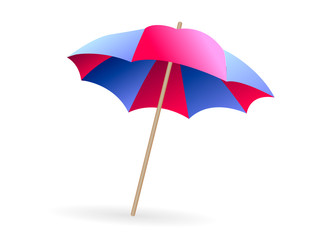 Pink and blue beach umbrella isolated on white background. Vector illustration
