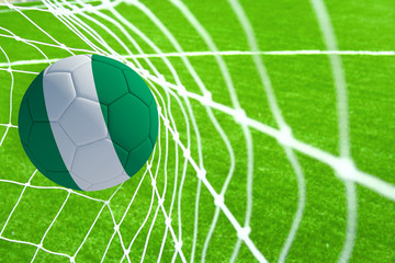 3d rendering of a soccer ball with the flag of Peru in the net.