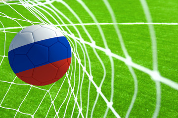 3d rendering of a soccer ball with the flag of Russia in the net.