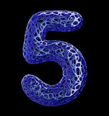 Number 5 five made of blue plastic with abstract holes isolated on black background. 3d
