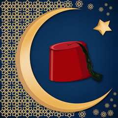 Turkish traditional red hat fez or tarboosh with arabic style ornament and moon and star background.