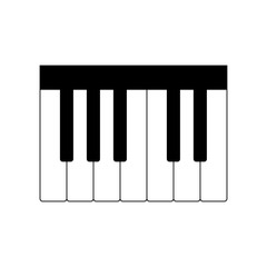Piano keyboard icon on white background, vector