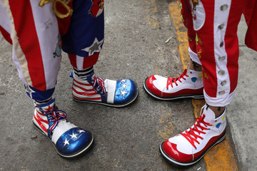 Clowns shoes are seen during Peru's Clown Day celebrations in Lima