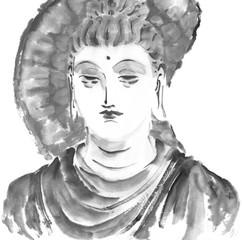 釈迦 石像 水墨調