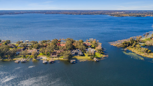 Aerial Overlooking Lakeside Homes in Central Florida