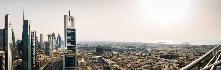 Panoramic view of downtown Dubai at sunset