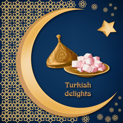 Turkish delight locum on decorated copper plate with text, arabic ornament, moon and star on dark blue background.
