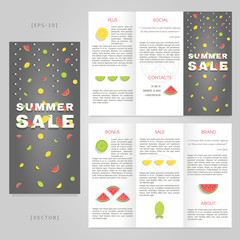 Tri-fold summer sale brochure template. Good for advertising and information printed products.