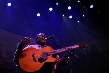South African musician Vusi Mahlasela performs during the Africa Day celebration dubbed 'The Liberation concert' in Johannesburg, South Africa