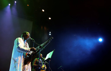 Guinean musician N'Faly Kouyate  performs during the Africa Day celebration dubbed 'The Liberation concert' in Johannesburg