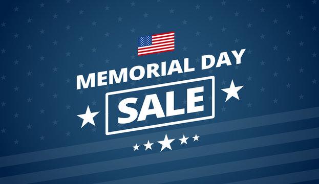 Memorial Day Sale blue background vector illustration