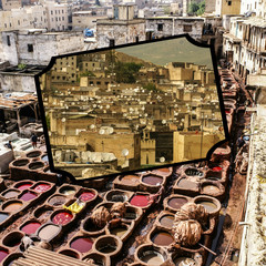 Collage of Fes traditional processing leather tannery in  Morocco