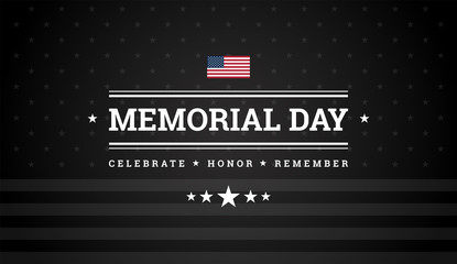 Memorial Day black background w/ the United States flag - memorial day vector