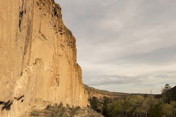 Cliff wall in Frijoles Canyon, Bandelier National Monument, Los Alamos, New Mexico.