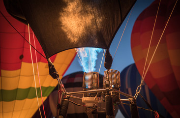 Printed roller blinds Balloon Close up of hot air balloon fire in Albuquerque, New Mexico.