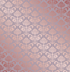 Seamless rose gold small floral elements wallpaper