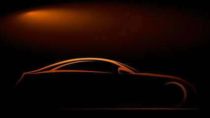 Gece ve parlayan otomobil silueti