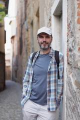 Tourist in Bergamo, Italy