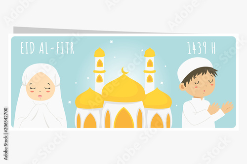 photo about Ramadan Cards Printable known as Delighted Eid Al-Fitr, muslim kids praying and a mosque