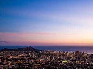 Cityscape at coast at dusk