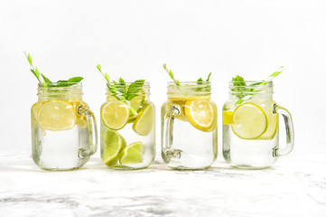 Fresh drink  lime lemon mint ice Cold summer lemonade