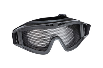 Metal mesh goggle for airsoft gun safety isolated on white