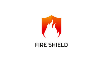 Shield Logo designs vector, Fire Shield logo designs concept vector