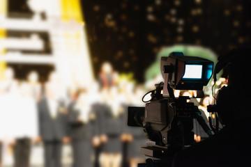 Video recording camera In the a studio background blur