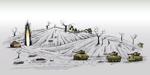 Cartoon opposing tanks confront one another on a desolate battlefield, firing their weapons.
