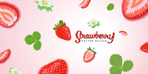Flying strawberries plant consists of leaves, stems and flowers on green background template. Vector set of fruit element for advertising, packaging design of strawberry products.