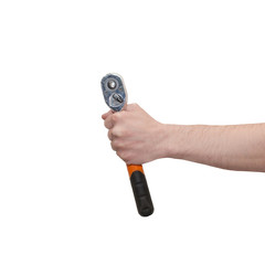 Male hand holding a ratchet wrench isolated on white. Mechanic hand hold spanner tool in hand