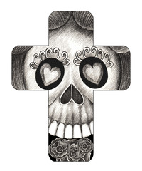 Art Skull Cross Tattoo. Hand pencil drawing on paper.