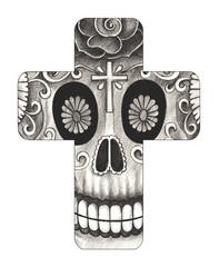 Art Skull Cross Tattoo. Hand pencil drawing on paper.