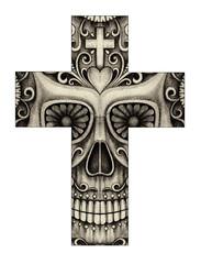 Art Design Skull Cross Tattoo. Hand pencil drawing on paper.