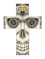 Art Skull Cross Tattoo. Hand drawing on paper.