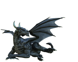 black dragon in a white background