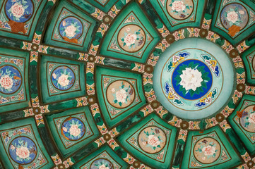 Beautiful oriental decorative paintings on a ceiling.