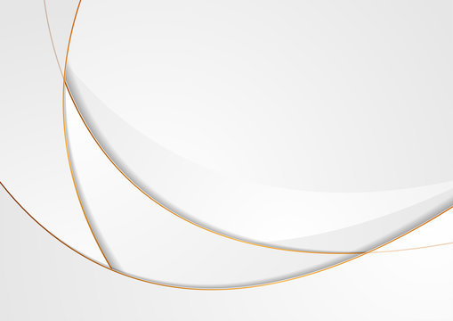Grey abstract wavy background with bronze outlines