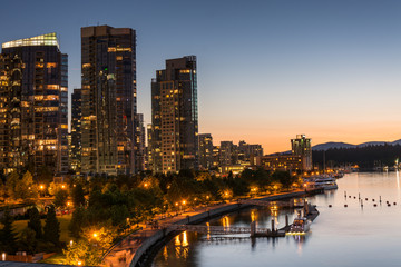 Skyline of Coal harbour at sunset in Vancouver British Columbia